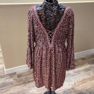 Boho lace up dress by ANGIE with bell sleeves